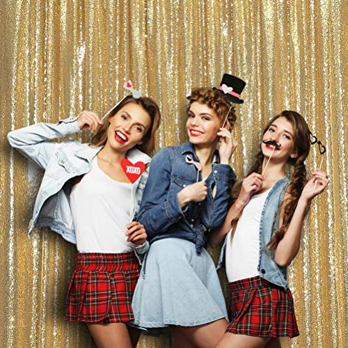 SquarePie Sequin Backdrop 6FTx6FT Gold Curtain Background for Photo Booth Photography Wedding Patry Christmas Decoration]()
