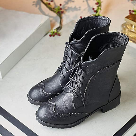 Amazon.com | JESPER Women Classic Oxfords Boots Round Toe Faux Leather Flat Lace Up Foldable Collar Boots | Shoes