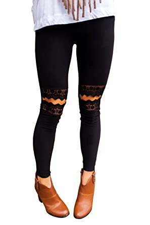 0272727af1baa Hestenve Womens Skinny High Waist Cut Out Lace Knee Leggings at Amazon  Women's Clothing store: