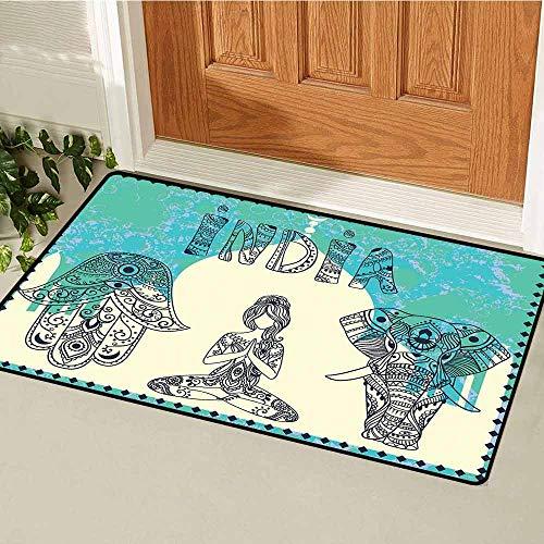 - GloriaJohnson Yoga Front Door mat Carpet Ethnic Elephant Hamsa Hand Woman Doing Yoga Ornaments Taj Mahal Silhouette Machine Washable Door mat W31.5 x L47.2 Inch Jade Green Cream Black