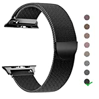 LJ Compatible with Apple Watch Band 42mm 38mm 40mm 44mm,Milanese Loop Stainless Steel Strap with Magnetic Closure Compatible with iWatch Band Series 4/3/2/1