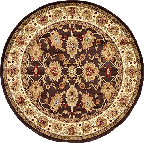 Unique Loom Agra Collection Brown 6 ft Round Area Rug (6' x 6') (Agra Collection)