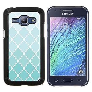 EJOOY---Cubierta de la caja de protección para la piel dura ** Samsung Galaxy J1 J100 ** --Wallpaper Luz Azul Blanco Diseño Patrón