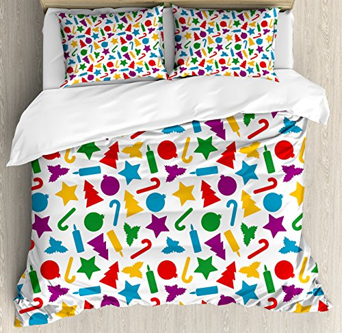 Ambesonne Kids Christmas Duvet Cover Set Queen Size, Colorfu