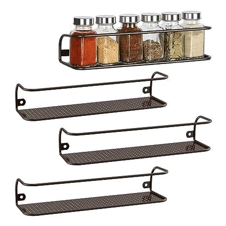 Spice Racks Organizer Kitchen Wall Mounted Storage For Kitchen Cabinets 4 Pack 11 2 L X 3 5 W X 2 3 H Brown