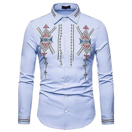 Cvbndfe Camisa De Vestir Para Hombre Hombres Hipster Bordado