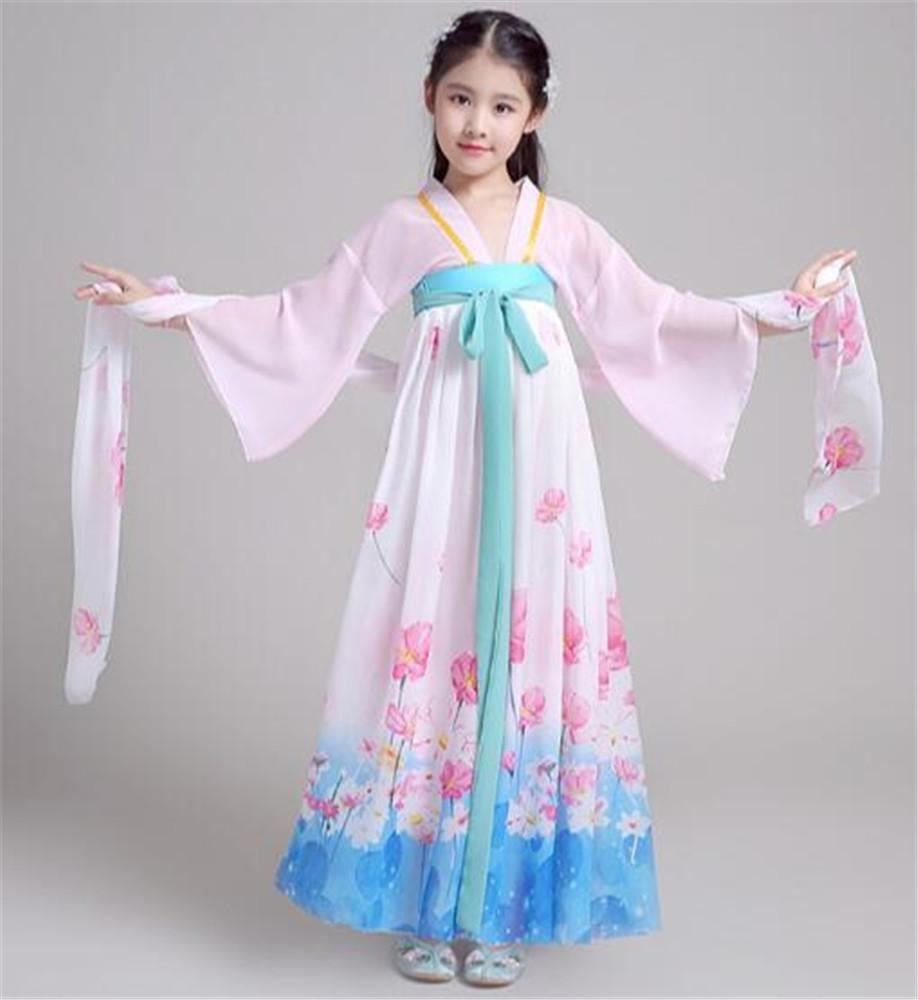B Habillement Classique de Perforhommece de Danse Ethnique Robe de Spectacle de scène de Fille célébration des Vacances des Enfants 110cm