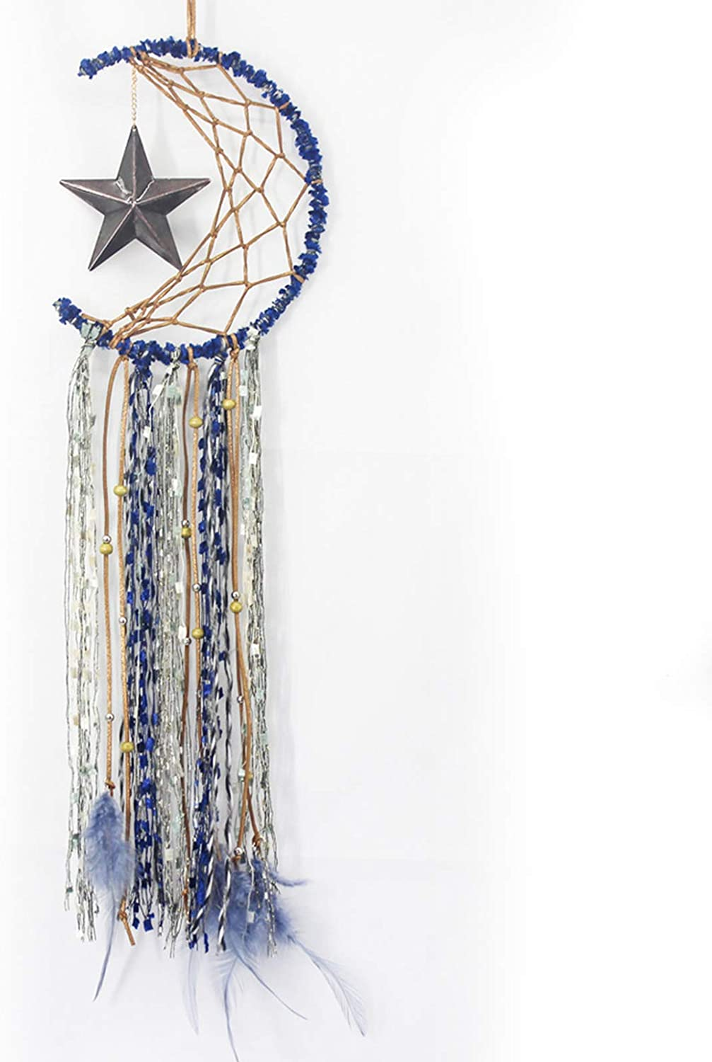 Dream Catcher - Handmade Dreamcatcher Moon Star Hanging Ornament Decor with Feather for Room, Home, Wall, Festival Gifts(Blue)