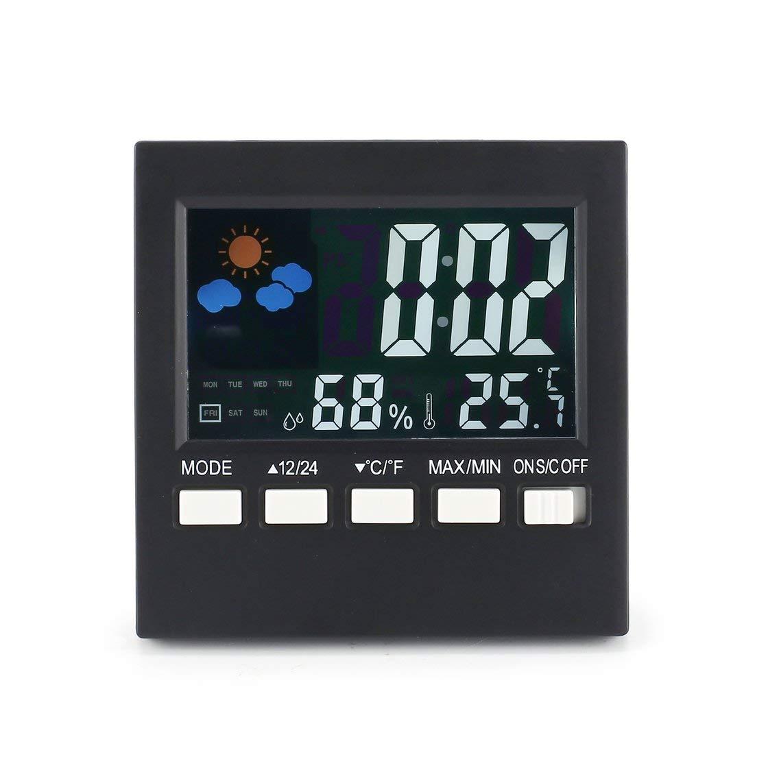 Multifunktionale Farbe Bildschirm Kalender Wetterstation Uhr Luftfeuchtigkeit Thermometer Vorhersage Temperatur Tester fü r Baby Zimmer Hermosairis