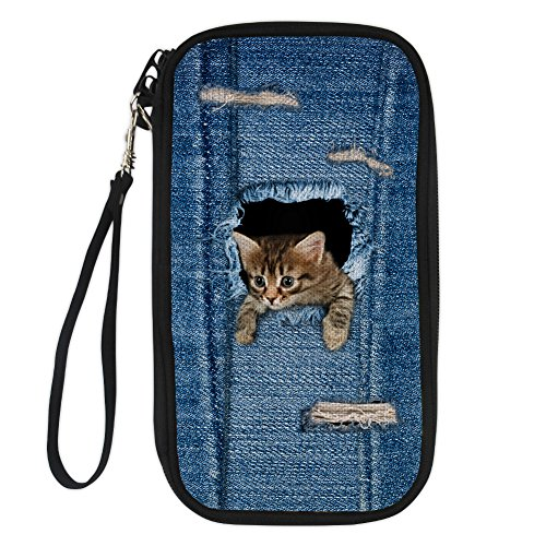 Showudesigns Trendy Jeans Cat Family Passport Wallet with Zipper Closure Hand Purse (Japanese Money Clip)
