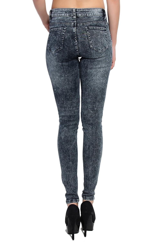 TheMogan Women's Dark Acid Wash Mid Rise Cloudy Ankle Skinny Jeans