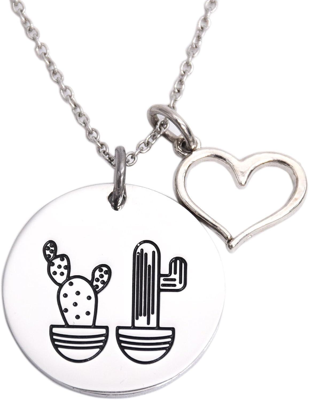Cactus collar Seguimos Juntos Mejor Amigo Colgante De acero inoxidable con hermana collares