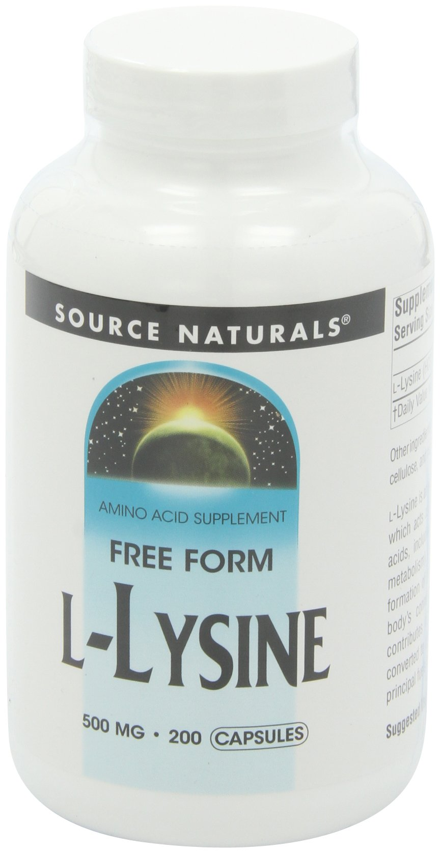 L-Lysine 500 mg 200 Capsule (Pack of 3) by Source Naturals
