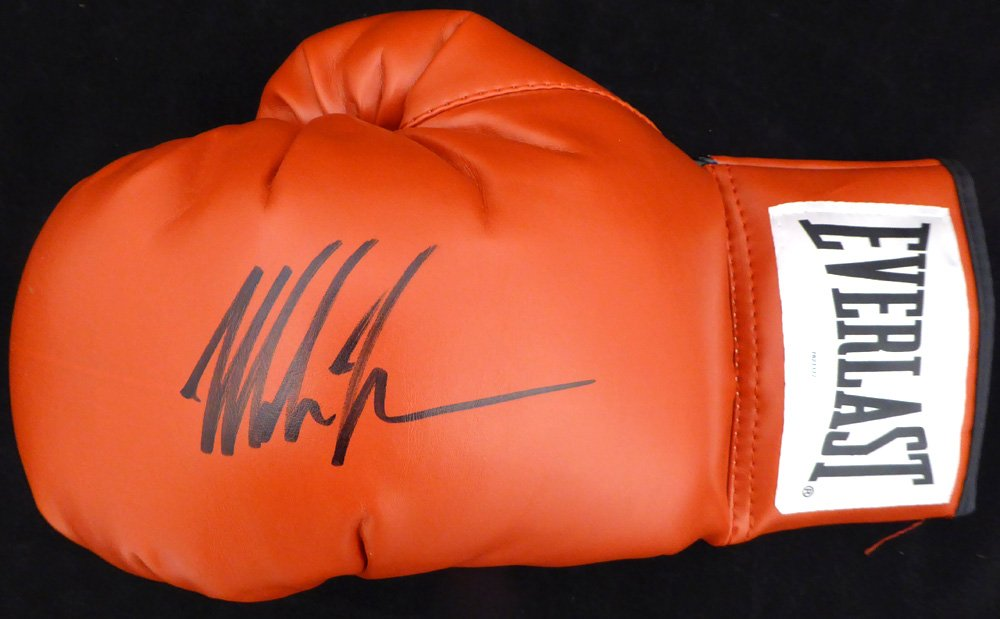 MIKE TYSON AUTOGRAPHED RED EVERLAST BOXING GLOVE LH SIGNED IN BLACK TRISTAR STOCK #128296