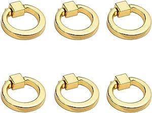 dorado 4 unidades de asas de caj/ón asas de anillo de aleaci/ón de zinc para armarios y cajones