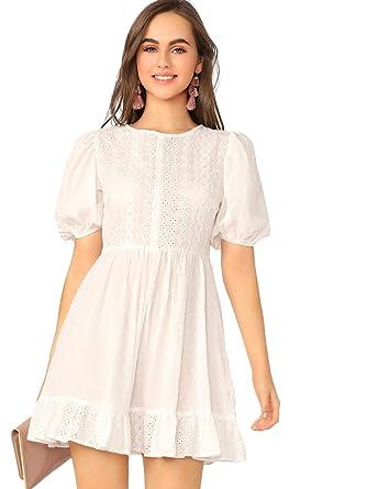 b422793d4211 Romwe Women's Elegant Ruffle Trim Eyelet Embroidered V Neck Wrap Short Dress  ###White