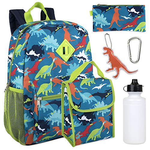 (Boy's 6 in 1 Backpack Set With Lunch Bag, Pencil Case, Bottle, Keychain, Clip (Dinosaurs))