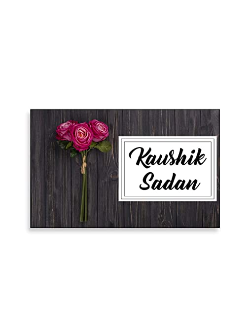 999store Printed Wooden And Flowers For Home Name Plate Mdf12 X75 Inchesmulti