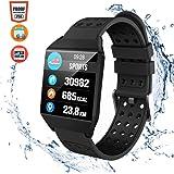 CatShin Pulsera Actividad Hombre CS04 Reloj Inteligente Mujer Niños Impermeable IP68 Reloj Deportivo con Pulsómetro Monitor de Ritmo Cardíaco Podómetro Smartwatch para iPhone/Xiaomi/Samsung-Negro