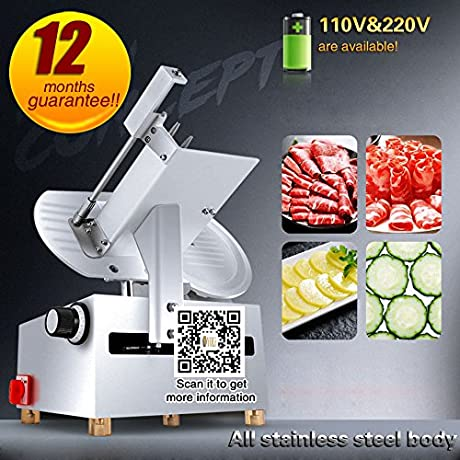 Yoli Full Automatic Frozen Meat Beef And Mutton Roll Meat Piece Machine Electric Meat Slicer Machine Planing Meat Machine 300mm 12 Inch Blade S Diameter 220V 50HZ
