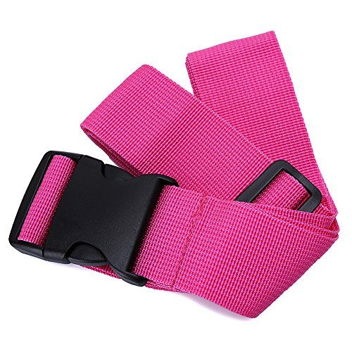 Nylon Luggage Strap Superior Strength Non-slip Travel Premium Designer Belt (Pink)