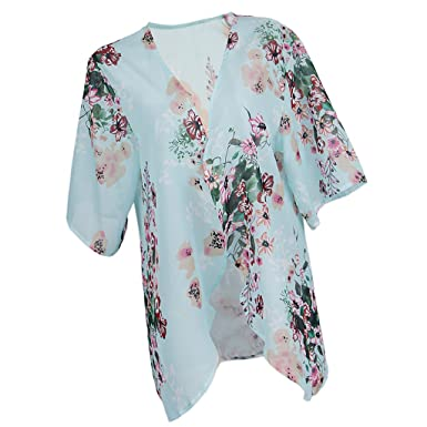 56425102c Prettyia Stylish Women Lady Flower Floral Printed Kimono Coat Chiffon Cover  up Tops Shirt Summer Beach Wear at Amazon Women's Clothing store: