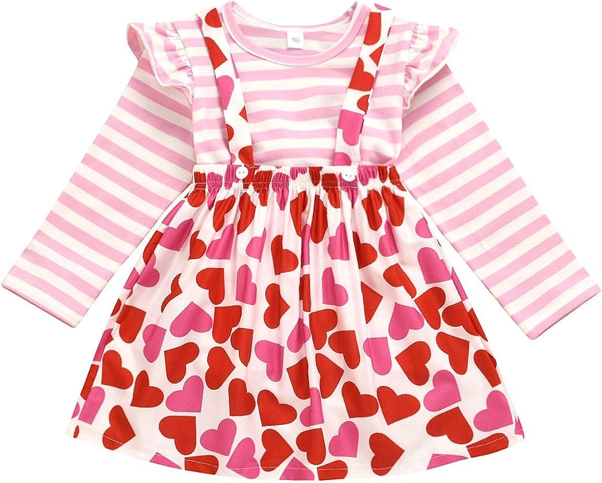 sshybmne Toddler Baby Girls Valentine s Day Outfit Solid Shirt Plaid Heart Suspender Skirt 2Pcs Valentine Clothes