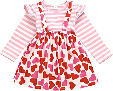 Toddler Kids Baby Girls Valentine Dinosaur Tops Suspender Skirts Outfits Clothes