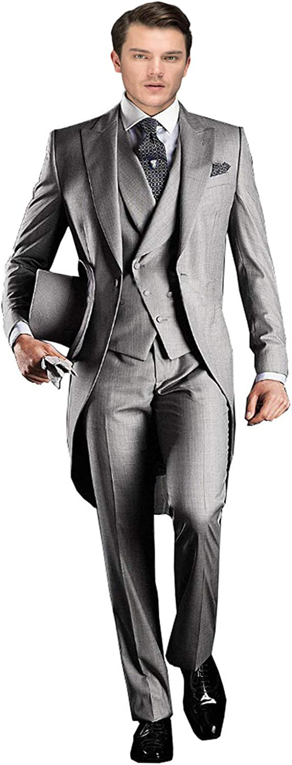 Wemaliyzd Mens 3 Piece Tuxedo Suit Classic Fit Double Breasted Vest Pants