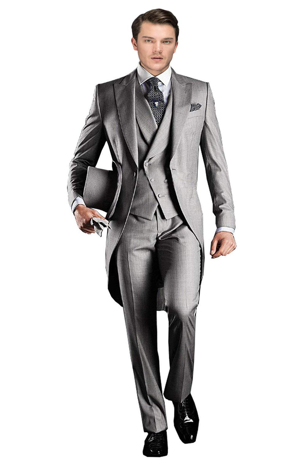 Wemaliyzd Men's Classic 3 Pieces Tux Suit One Button Regular Fit Long Tail Tuxedos(Silver,40L)