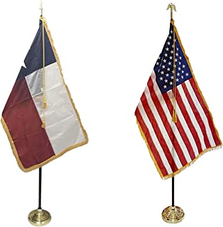 product image for 3x5' Texas State Indoor Flag Set with 3x5' United States Indoor Flag Set with Flag Spreaders for Display!