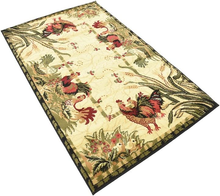 Barnyard Roosters and  Floral French Country Cottage Roosters Area Rug (3' 3 x 5' 3) Black, Ivory, Burgundy, Olive, and Gold.