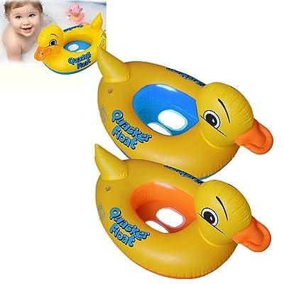 PVC Flotador Anillo de natación del Niños de dibujos animados del Pato,GZQES,Infant Natación Flotador de piscinas para bebés niños 2-6 años edad,Color Azal: Deportes y aire libre