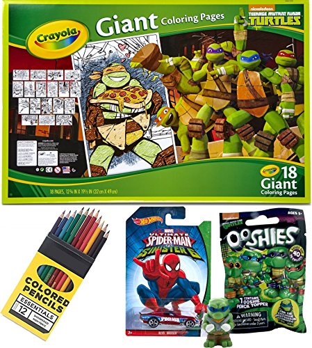 Teenage Mutant Ninja Turtles Giant Crayola Coloring Poster Pages & Hot Wheels Spider-Man Toy car + Mystery Blind Bag Ooshies Pencil Topper & 12 pack colored (Stealth Skateboard Deck)