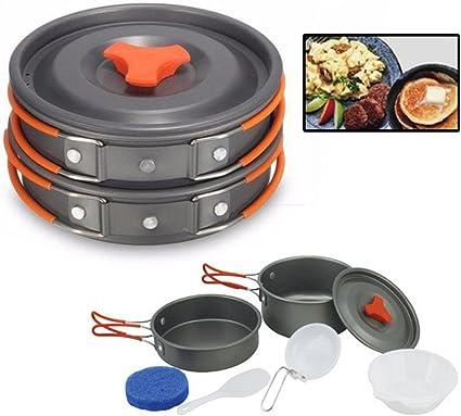 8pcs Outdoor Camping Hiking Cookware Non-stick Picnic Cooking Bowl Pot Pan Set