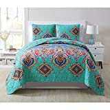 3 Piece Native Bohemian Medallion Patterned Reversible Quilt Set Queen Size, Featuring Printed Exotic Medallions Bright Boho Tribe Geometric Diamond Bedding, Vintage Design Mandala Style, Multicolor