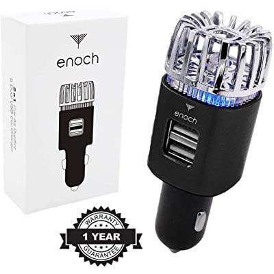 Enoch Car Air Purifier with USB Car Charger 2-Port. Car Air Freshener Eliminate Odor, Dust, Pollen. Removes Cigarette Smoke, Pet and Food Odor, Ionic Ozone. Ionic Car Deodorizer. Color-Black: Home & Kitchen