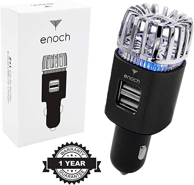 Enoch Car Air Purifier with USB Car Charger 2-Port. Car Air Freshener Eliminate Odor, Dust, Pollen.