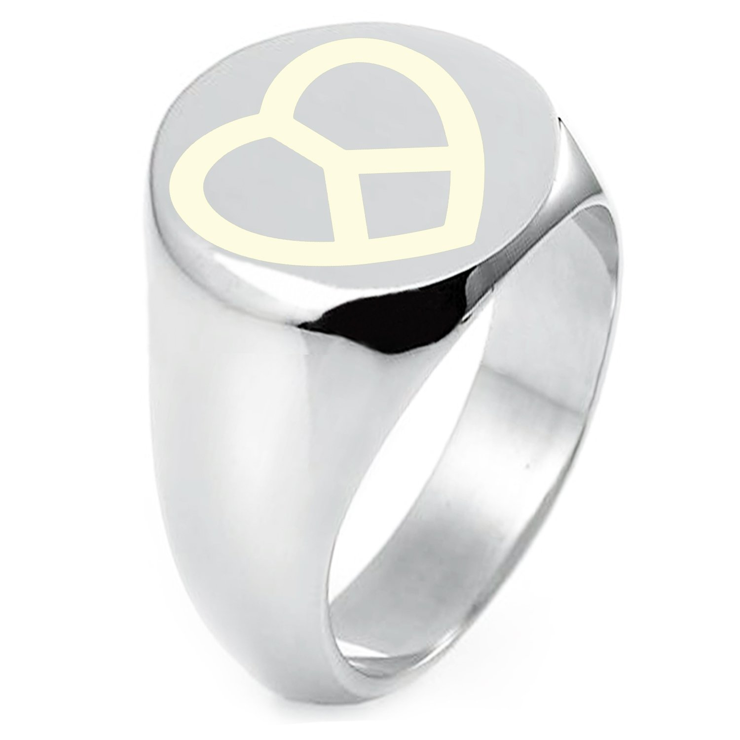 Sterling Silver Peace & Love Symbol Engraved Round Flat Top Polished Ring, Size 8