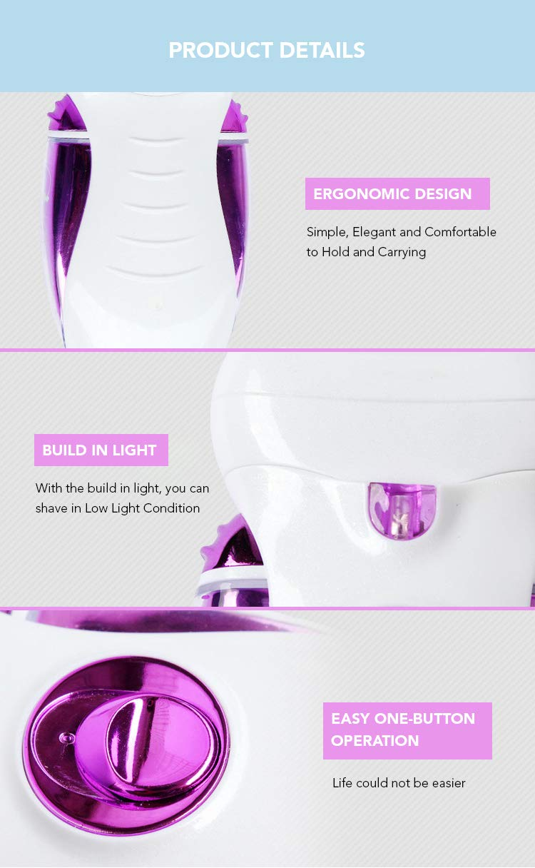 Hair Epilator Shaver Razor Trimmer for Women - 4 in 1 Rechargeable Hair Remover - Includes Four Heads for Complete Hair Removal - Painless Machine for Facial Bikini Leg Arms Body Lips by Watolt