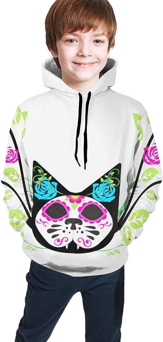 Cat Roses Men 3D Print Pullover Hoodie Sweatshirt with Front Pocket