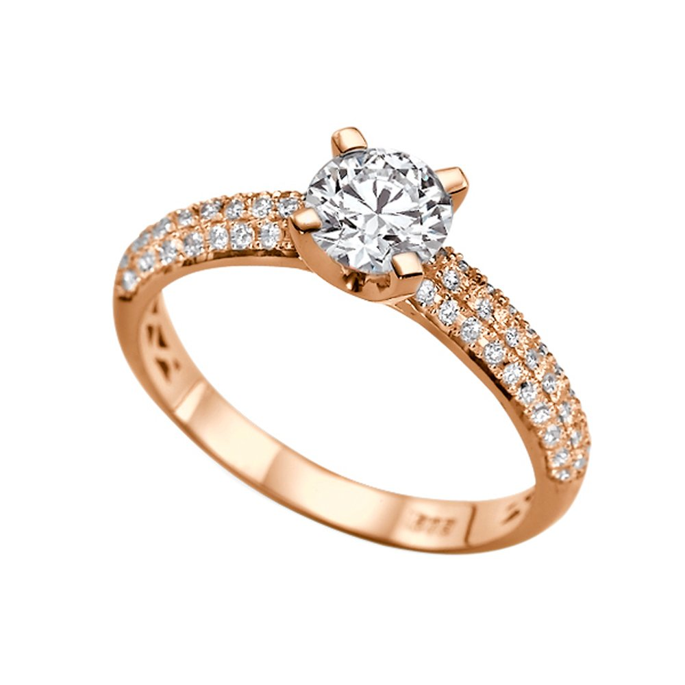 1.30ct Lab Created White Sapphire and Diamonds Ring Rose Gold 14K 3 row Round by Diamond Mine