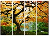 Startonight Canvas Wall Art Amazing Maple, Trees USA Design for Home Decor, Dual View Surprise Wall Art Set of 4 Total 35.43 X 47.2 Inch 100% Original Art Painting