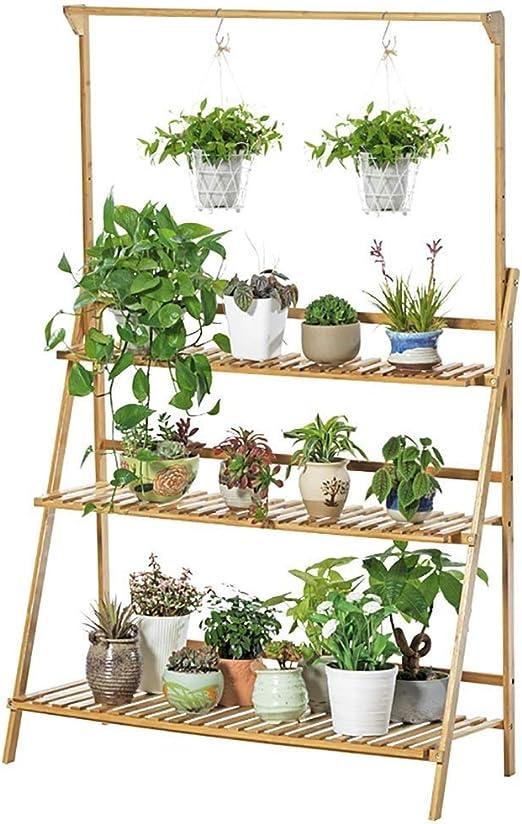 Escalera de 3 niveles Soporte de planta Estante de flores al aire libre para interiores Estante de exhibición de estantes de madera Estantes de plantas con barra de suspensión de plantas PNYGJKHJ: