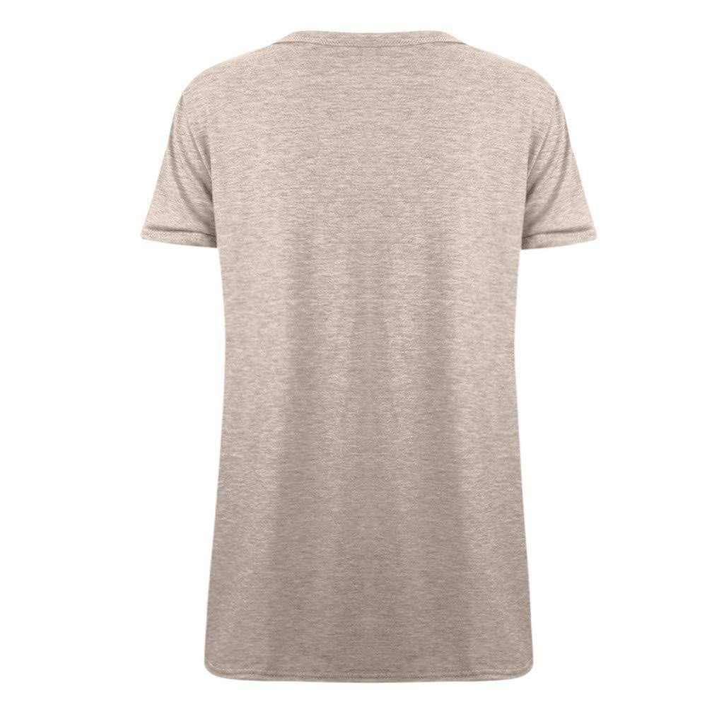 TnaIolral Women Tops Loose Sleeveless O-Neck Solid T-Shirt Blouse Khaki by TnaIolral (Image #4)