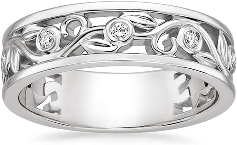 Diamond Ladies/' Wedding Band Ring Solid 10K White Gold 0.10 CT