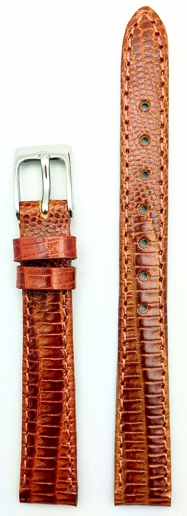 12mm Bronze/Honey Brown Genuine Leather Watch Band | Teju Lizard Grain Lightly Padded Replacement Wrist Strap That Brings New Life to Any Watch (Womens Standard Length)