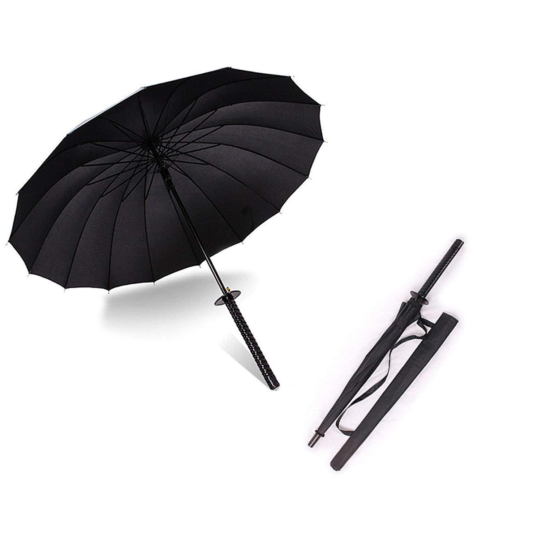"38"" Inch tall Black Samurai Ninja Katana Umbrella Samurai Swords Umbrella Handle Creative Strong Windproof Semi-automatic Knife Umbrella Stylish Japanese Sun Rain Umbrella Decoration Gift B11781"