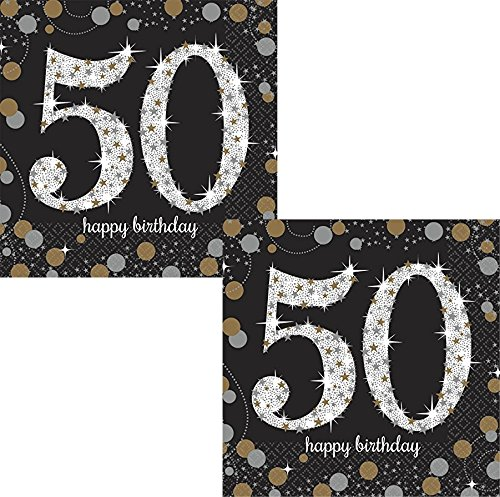 50th Birthday Napkins - Sparkling Celebration 50 Beverage Paper Napkins