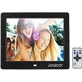 Andoer Cornice digitale 8 pollici HD widescreen ad alta risoluzione – sveglia Cornice Frame MP3 MP4 Video Player con telecomando regalo di Natale